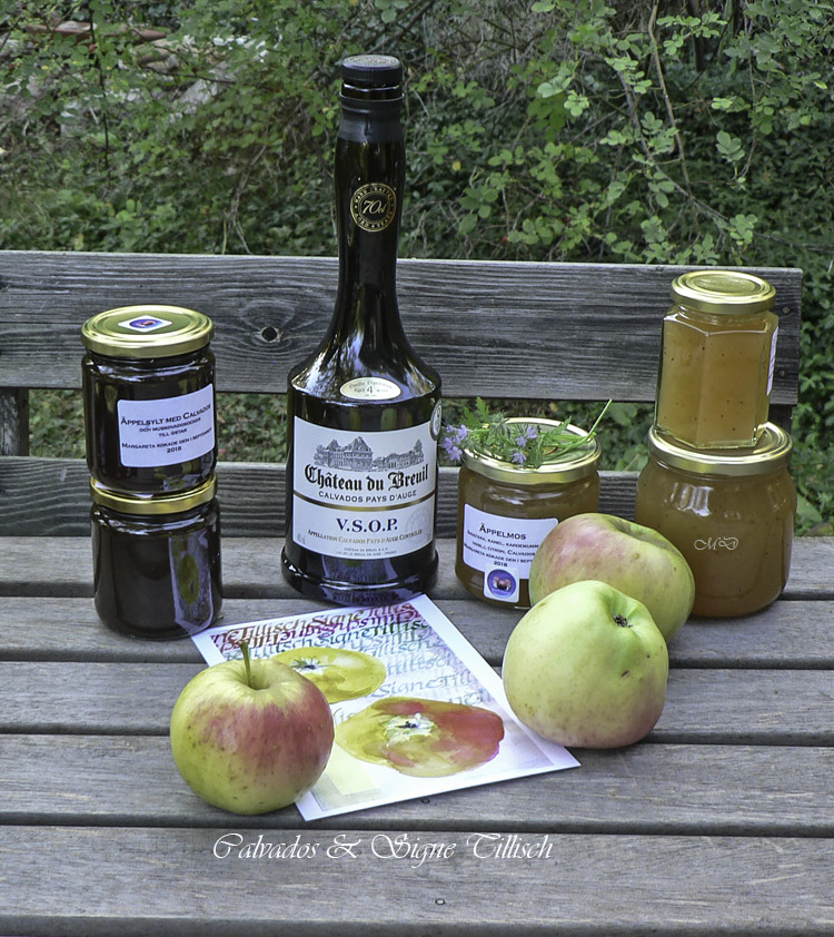 Apple-jam-wall_pots-with-Calvados-bottle_apples-2018_photo-M-Dahlin