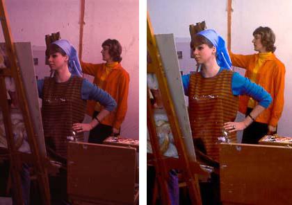 Från diabild från Konstfack 1964, före och efter behandling